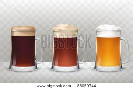 Vector illustration of a realistic style three glass beer mugs with a different types of beer isolated on a transparent background
