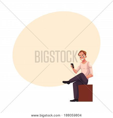 Man sitting, playing with smartphone, texting, messaging, using mobile phone, cartoon vector illustration with space for text. Full length portrait of young man sitting and using mobile phone