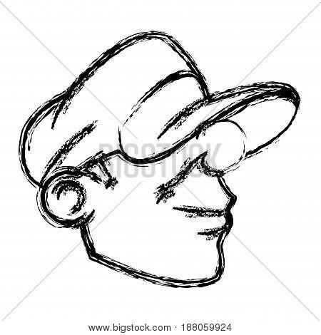 cartoon young head guy graffiti sketch vector illustration