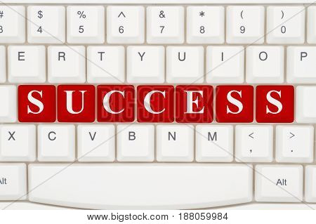 Finding success on the internet A close-up of a keyboard with red highlighted text Success 3D Illustration