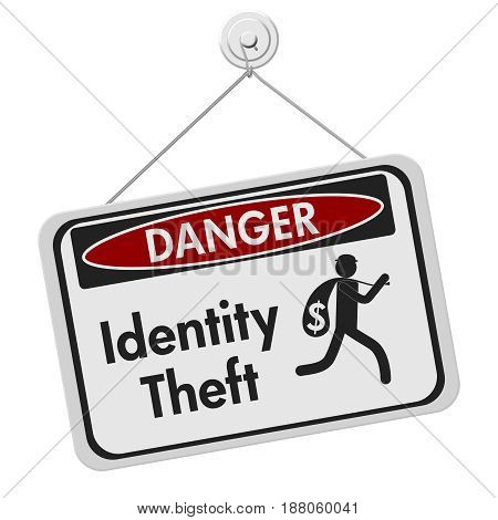 ID theft danger sign A black and white danger hanging sign with text Identity theft and theft icon isolated over white 3D Illustration