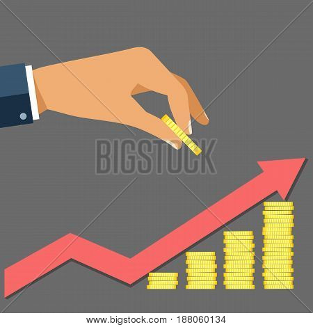 Business man hand hold gold coin and growth stocks with coins with red arrow on gray background vector illustration in flat design. investment concept and profit