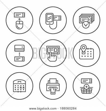 Set round line icons of booking tickets isolated on white. Vector illustration