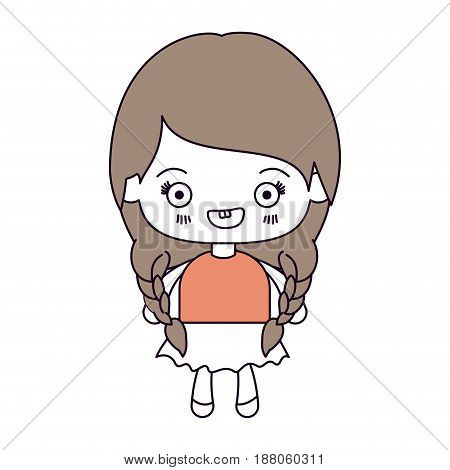 silhouette color sections and light brown hair of kawaii cute little girl with braided hair and smiling vector illustration