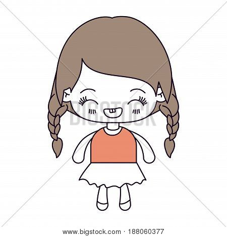 silhouette color sections and light brown hair of kawaii little girl with braided hair and facial expression laughing vector illustration