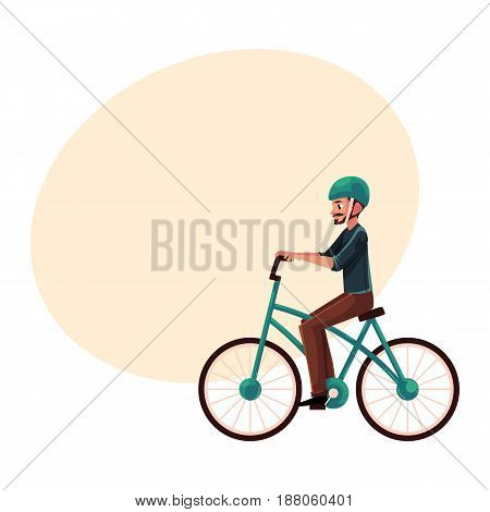 Young man, guy riding urban bicycle, cycling in helmet, cartoon vector illustration with space for text. Full length, side view portrait of young man riding a bicycle, cycling