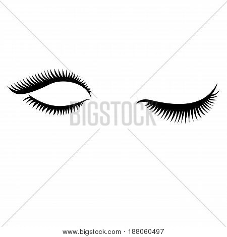 Eye lashes vector icon. Lashes vector. Open and close lashes