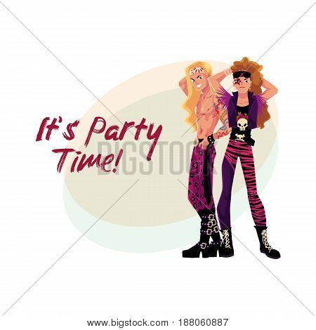 Glam rock party invitation, banner poster template with two young men in leather clothing, cartoon vector illustration. Glam rock party invitation banner, poster layout with rock star boys