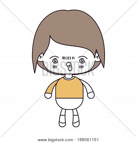 silhouette color sections and light brown hair of kawaii little boy with facial expression furious vector illustration