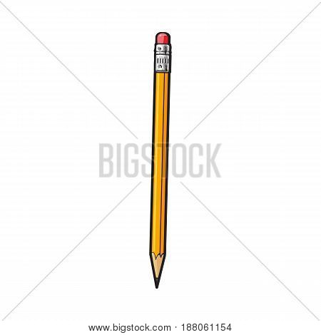 Simple hand drawn yellow graphite pencil with eraser, office supply, writing accessory, sketch style vector illustration isolated on white background. Realistic hand drawing of yellow school pencil