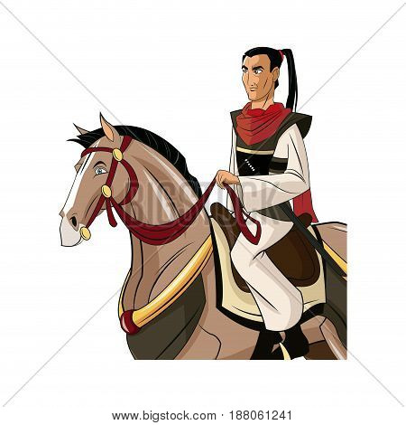 Samurai Warrior with Sword, Riding horse, designed using fire grunge brush graphic vector.
