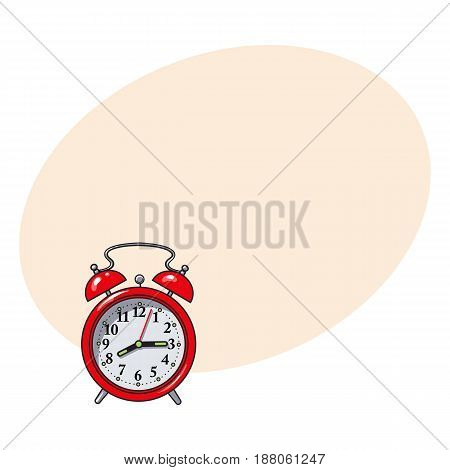 Retro style red analog alarm clock, hand drawn sketch style vector illustration with space for text. Realistic hand drawing of red analog retro, vintage alarm clock with two bells