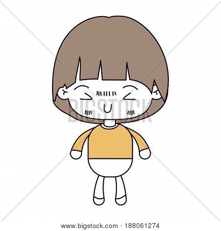 silhouette color sections and light brown hair of kawaii little boy with mushroom hairstyle and facial expression furious vector illustration