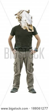 Surreal conceptual pop art style artwork full body man with cow headbone replacing his head