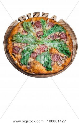 Italian pizza cesare with salami mushrooms and salad. A series of different types of pizza for menus photographed from one angle.