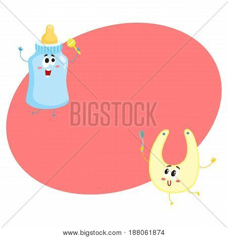 Funny milk bottle and baby bib characters, child care, feeding concept, cartoon vector illustration with space for text. Baby milk bottle and bib character, mascot, infant necessities