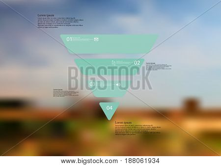 Illustration infographic template with motif of triangle horizontally divided to four standalone green sections with simple sign number and sample text. Blurred photo is used as background.