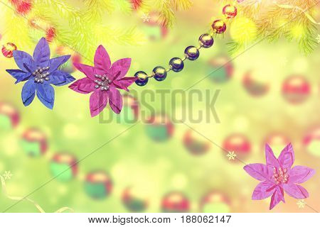 abstract background of Christmas toys. Beads. Garland.