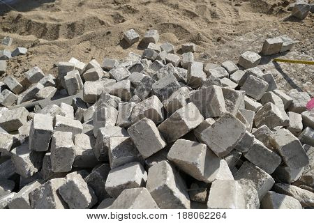 Heap Of Cobble Cubes For Street Reconstruction