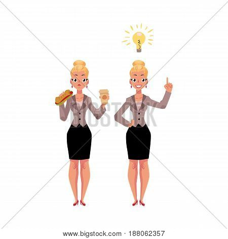 Young businesswoman eats sandwich and coffee, gets an idea, business insight, cartoon vector illustration isolated on white background. Businesswoman, business woman gets lunch, has inspiring thought