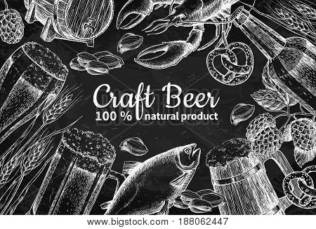 Beer vector chalkboard frame banner. Alcohol beverage hand drawn illustration. Beer glass, mug, wooden mug, bottle, barrel, snack, hop, wheat, fish, crayfish Great for bar pub menu oktoberfest