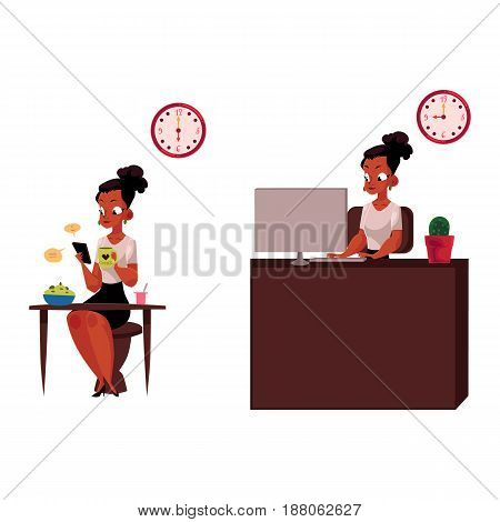 Black, African American businesswoman having breakfast, working on computer in office, cartoon vector illustration isolated on white background. Black businesswoman, working day, home and office