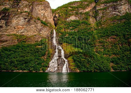 Beautiful and cold waterfalls. Geiranger fjord, Norway