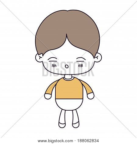 silhouette color sections and light brown hair of kawaii little boy with facial expression of tired vector illustration