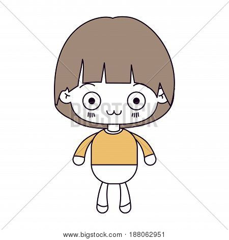 silhouette color sections and light brown hair of kawaii little boy with facial expression depressed vector illustration