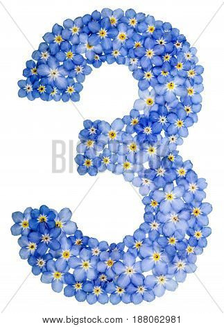 Arabic Numeral 3, Three,, From Blue Forget-me-not Flowers