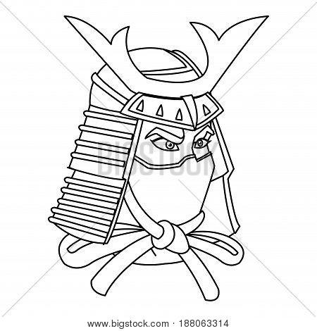 samurai mask helmet warrior design icon vector illustration