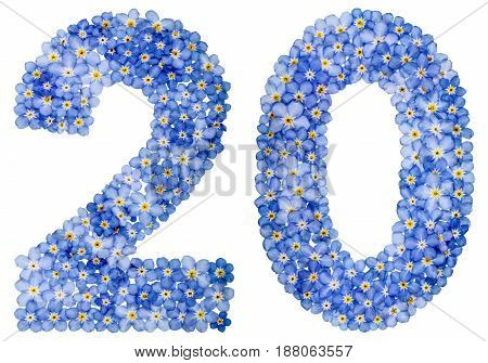 Arabic Numeral 20, Twenty, From Blue Forget-me-not Flowers