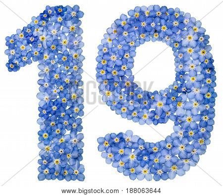 Arabic Numeral 19, Nineteen, From Blue Forget-me-not Flowers