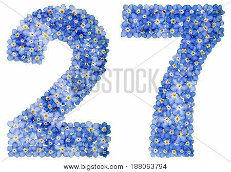 Arabic Numeral 27, Twenty Seven, From Blue Forget-me-not Flowers