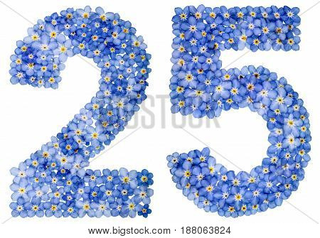 Arabic Numeral 25, Twenty Five, From Blue Forget-me-not Flowers