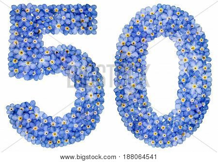 Arabic Numeral 50, Fifty, From Blue Forget-me-not Flowers