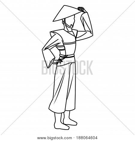 character asian man to ancient clothes and hat. vector illustration
