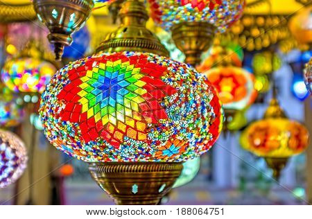 KEMER TURKEY - MAY 5 2017: The Turkish lighting stores offers vide range of handmade arabian lights decorated with scenic patterns on May 5 in Kemer.