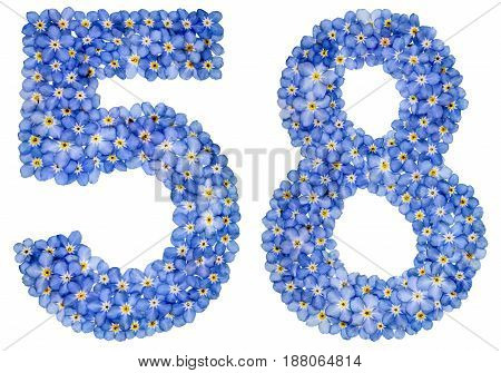 Arabic Numeral 58, Fifty Eight, From Blue Forget-me-not Flowers