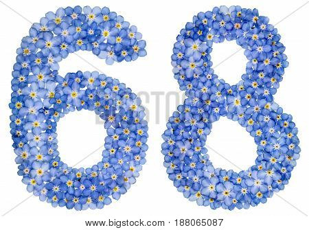 Arabic Numeral 68, Sixty Eight, From Blue Forget-me-not Flowers