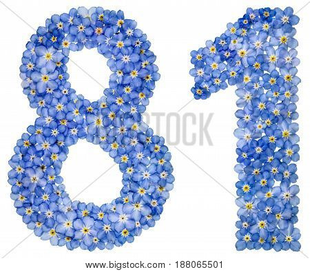 Arabic Numeral 81, Eighty One, From Blue Forget-me-not Flowers