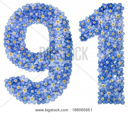 Arabic Numeral 91, Ninety One, From Blue Forget-me-not Flowers
