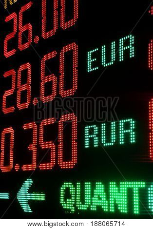 Information red board with currency exchange rates.