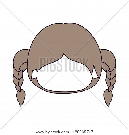 silhouette color sections and light brown hair of faceless head of little girl with hair pigtails vector illustration