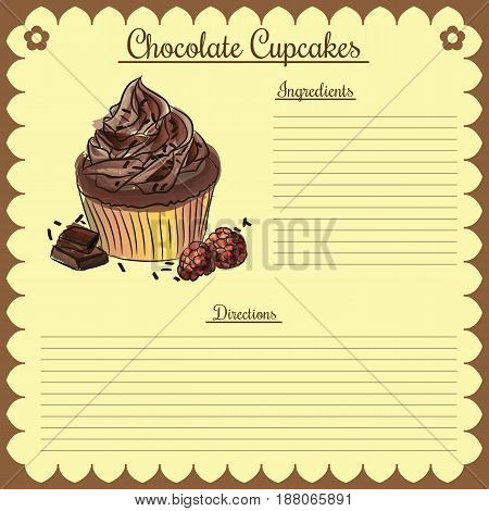 Vector recipe with chocolate cupcake with format eps10