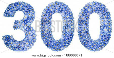 Arabic Numeral 300, Three Hundred, From Blue Forget-me-not Flowers