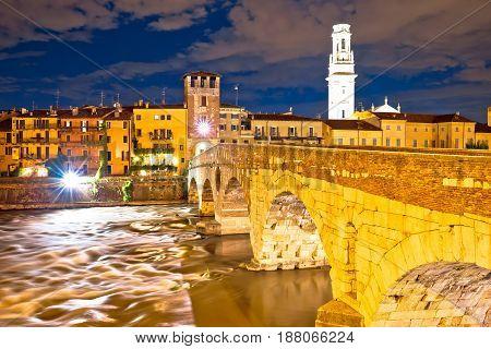 City Of Verona Adige Riverfront Evening View