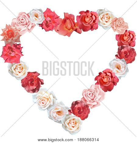 Heart shape made of roses in red, pink, beige and white colours, useful for a message to loved ones