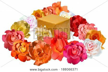 Heart shape made of roses in orange and yellow tones, with a gift packed in golden paper