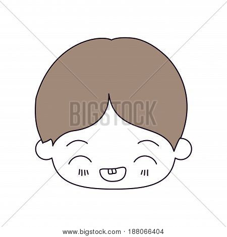 silhouette color sections and light brown hair of kawaii head of little boy with facial expression laughing in closeup vector illustration